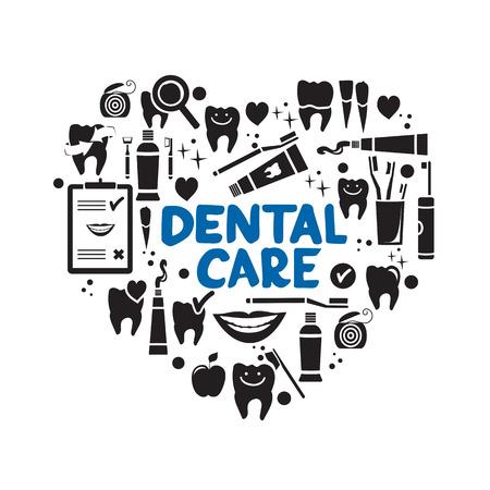Tandheelkundige zorg symbolen in de vorm van hart. Tandzijde, tanden, mond, tandpasta enz.