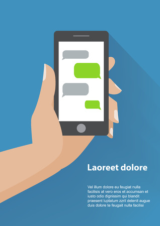 iphon: Hand holing black smartphone similar to iphon with blank speech bubbles for text. Text messaging flat design concept.    Illustration