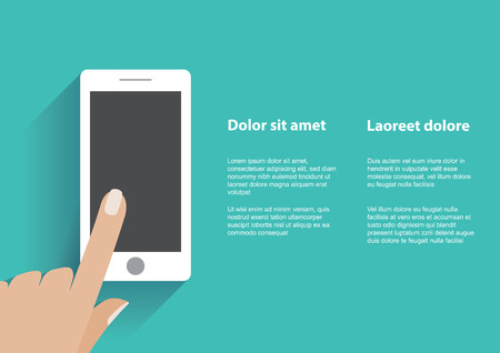 Hand touching blank screen of white smartphone. Using mobile smart phone   Illustration