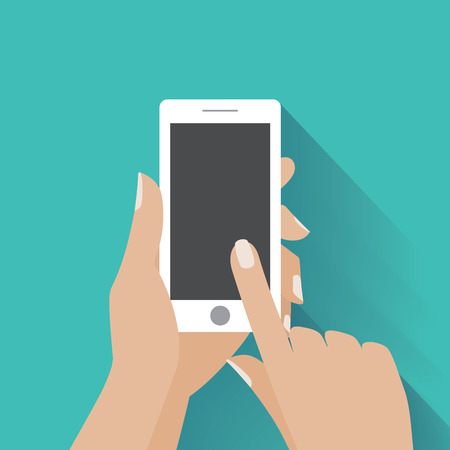 Hand holing white smartphone, touching blank screen. Using mobile smart phone, flat design concept.