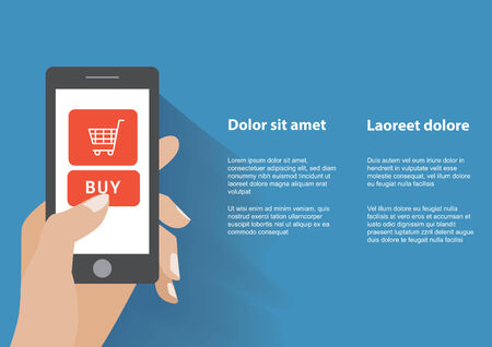 holing: Hand holing smart phone with buy button on the screen. E-commerce flat design concept.    Illustration