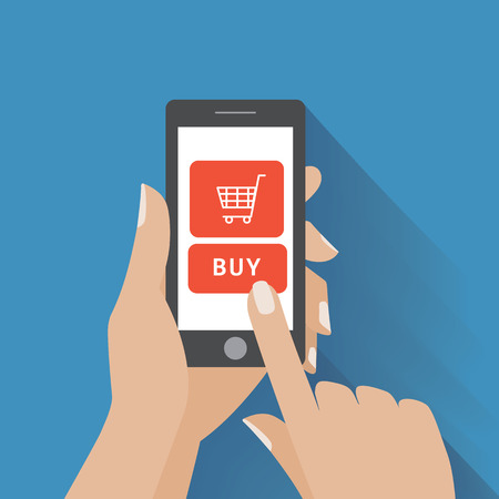 mobile phone: Hand holing smart phone with buy button on the screen. E-commerce flat design concept.
