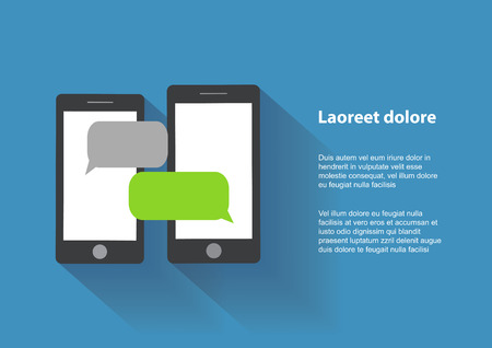 Two black smartphones similar to iphon with blank speech bubbles on the screen. Text messaging flat design concept.