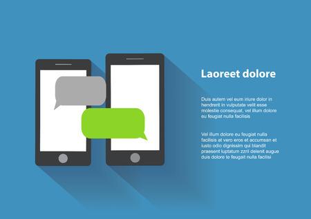 Twee zwarte smartphones vergelijkbaar met iPhon met lege tekstballonnen op het scherm. Tekstberichten platte design concept.