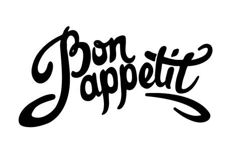 Bon appetit hand drawn lettering. Vector illustration