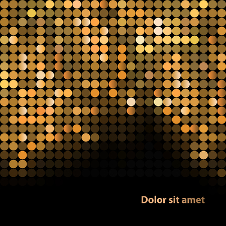 golden light: Shiny background with sequins. Template for your design. Can be used for business cards, presentations, banners