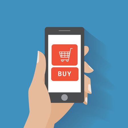 Hand holing smart phone with buy button on the screen. E-commerce flat design concept. Using mobile smart phone for online purchasing. Eps 10 vector Vector