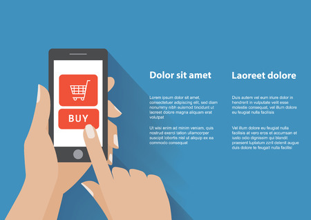 using smart phone: Hand holing smart phone with buy button on the screen. E-commerce flat design concept. Using mobile smart phone similar to phone for online purchasing.
