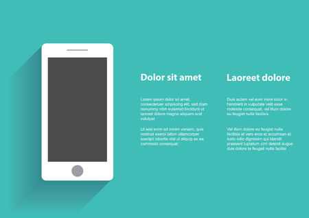 using smartphone: Smartphone with blank screen. Flat design concept.