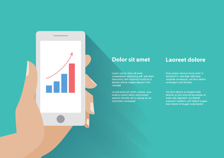 holing: Hand holing smart phone with increasing bar chart on the screen. Using smartphone  for business, flat design concept.  Illustration