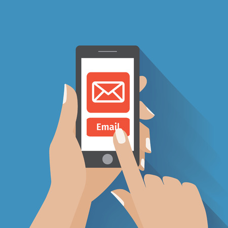 Hand touching smart phone with Email symbol on the screen. Using smartphone , flat design concept.  Vector