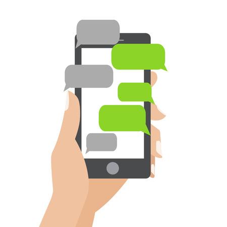 Hand holing schwarz Smartphone ähnlich wie mit leeren Sprech iPhon Blasen für Text. Textnachrichten Flachdesignkonzept.