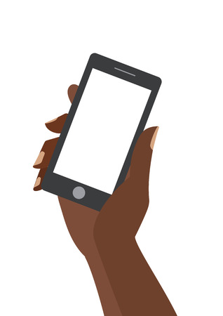African woman hand holing black smartphone with blank white screen. Using mobile smart phone silimar to iphon, flat design concept.  Иллюстрация