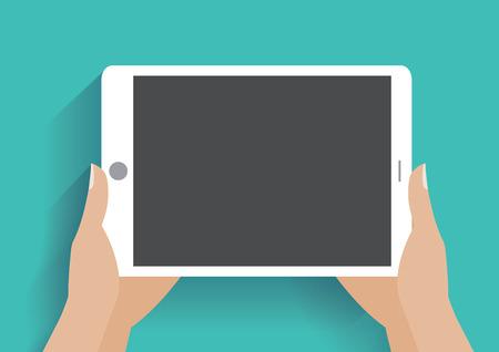 Handen holing tablet-computer met een leeg scherm. Met behulp van digitale tablet-pc, platte design concept. Stock Illustratie
