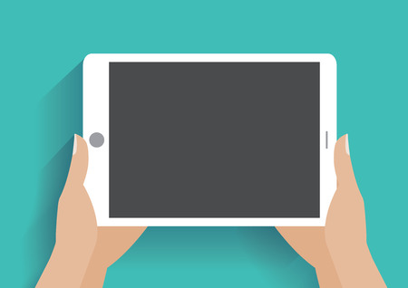 Hands holing tablet computer with blank screen. Using digital tablet pc , flat design concept.  Vectores