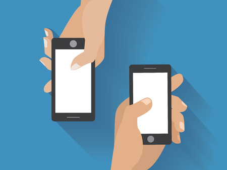 holing: Hands holing smartphones. Using smart phone flat design concept.