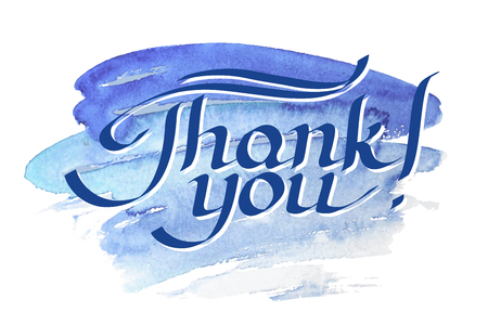 minuscule: Thank you hand-drawn lettering against watercolor background.
