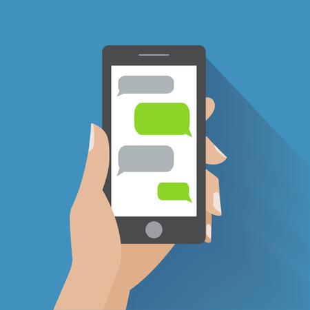 Hand holing zwarte smartphone vergelijkbaar met iPhon met lege spraak bellen voor tekst. Tekstberichten platte design concept. Stock Illustratie