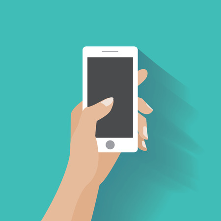 Hand holing white smartphone, touching blank screen. Using mobile smart phone silimar to iphon, flat design concept. Stock Illustratie