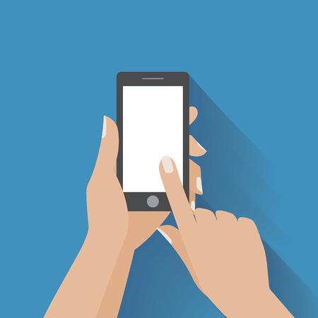manos: Mano que agujerea tel�fono inteligente negro, tocando la pantalla en blanco. Usando el tel�fono m�vil inteligente, concepto de dise�o plano.