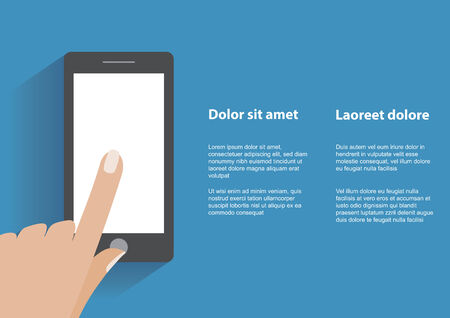 Hand touching blank white screen of black smartphone. Using mobile smart phone, flat design concept.  Vector
