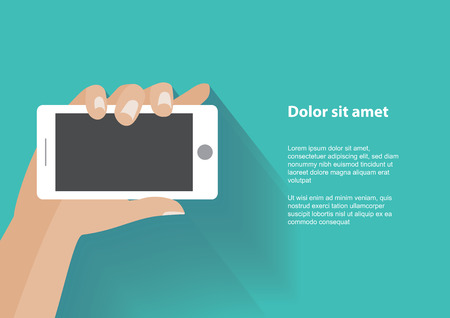 Hand holing white smartphone with blank screen. Using mobile smart phone, flat design concept. Eps 10 vector illustration