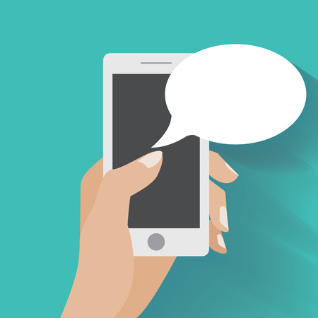 Hand holing smartphone with blank speech bubble for text. Using smart phone similar to iphon for text messaging. Vettoriali