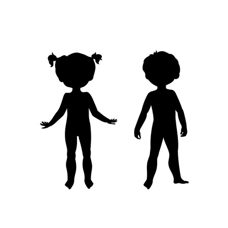 nude male: Black silhouettes of cute kids. Standing boy and girl, front view. Body template for your design needs. Illustration