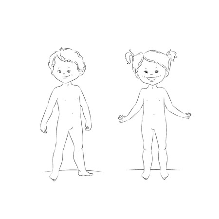 Sketch of cute kids. Standing boy and girl, front view. Body template for your design needs.