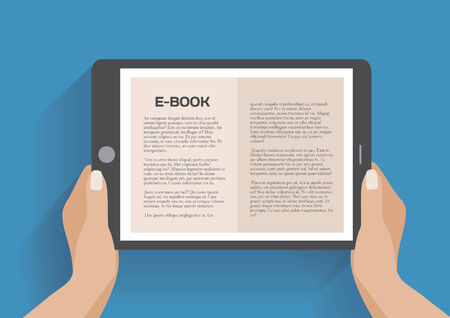 electronic book: Hands holding electronic book, flat design concept. Using e-book, eps 10 vector illustration