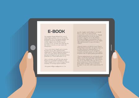 ebook reader: Hands holding electronic book, flat design concept. Using e-book, eps 10 vector illustration