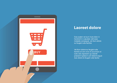 pda: Tablet pc with buy button on the screen. E-commerce flat design concept. Using tablet pc for online purchasing.