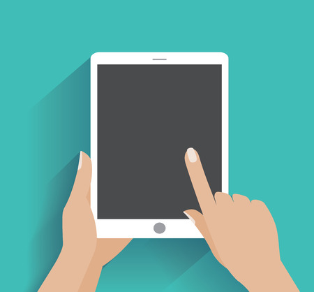 Hand touching blank screen of tablet computer. Using digital tablet pc , flat design concept.