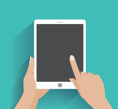 Hand berühren leeren Bildschirm des Tablet PC. Mit Hilfe der digitalen Tablette-PC, flachen Design-Konzept.