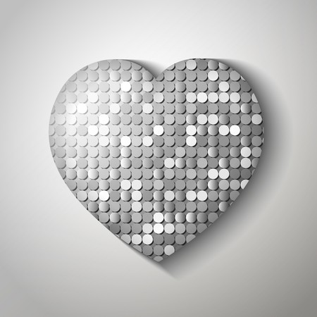 Shiny sequins heart. Vector