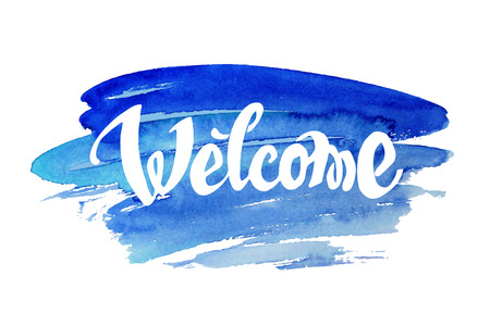 Welcome hand drawn lettering against watercolor background Ilustracja