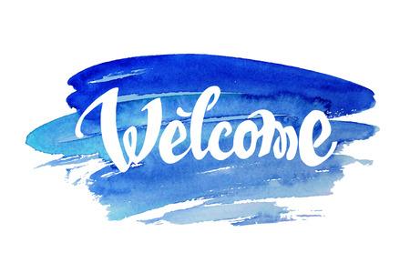 Witamy ręcznie rysowane tła akwarela litery przed Ilustracje wektorowe
