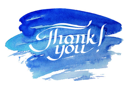 grateful: Thank you hand-drawn lettering against watercolor background.