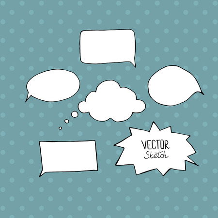 chat bubbles: Set of blank speech bubbles with space for text. Hand drawn sketch elements for your design.