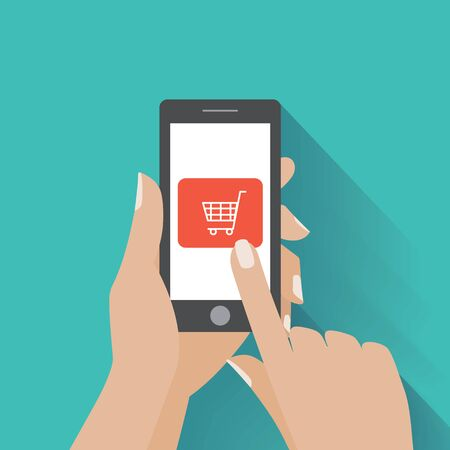 Hand touching smart phone with buy button on the screen. E-commerce flat design concept. Using mobile smart phone for online purchasing.