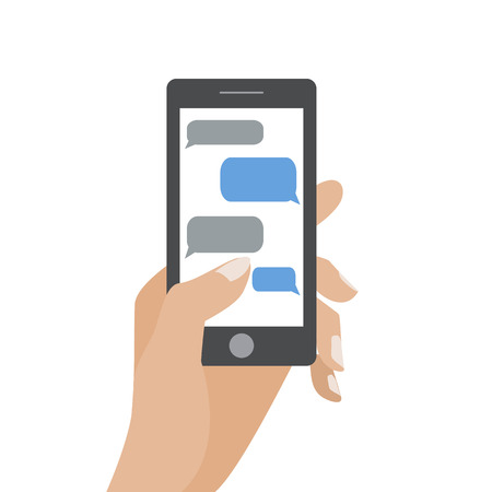 message: Hand holing black smartphone similar to iphon with blank speech bubbles for text. Text messaging flat design concept. Illustration