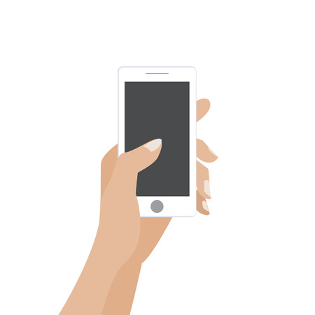 Hand touching blank screen of white smartphone. Using mobile smart phone silimar to iphon, flat design concept.