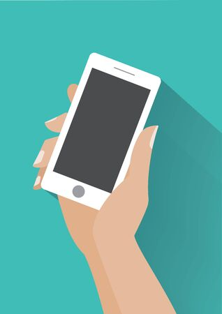 Hand holing smartphone with blank screen. Using mobile smart phone, flat design concept.