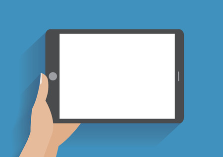 using smart phone: Hand holing tablet computer with blank screen.  Illustration