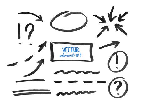 flechas: Conjunto de elementos de correcci�n y resalte, parte 1. Los c�rculos, flechas, l�neas, etc. dibujado a mano con rotulador. Ilustraci�n del vector.