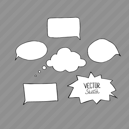 dialog balloon: Set of blank speech bubbles with space for text. Hand drawn sketch elements for your design.