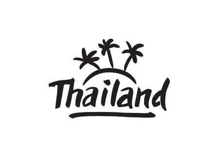 Thailand hand drawn lettering. Typographic design elements  イラスト・ベクター素材