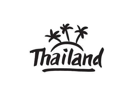 Thailand hand drawn lettering. Typographic design elements Иллюстрация