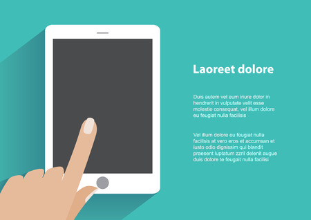 using tablet: Hand touching blank screen of tablet computer. Using digital tablet pc similar to ipad, flat design concept. Eps 10 vector illustration