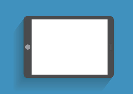Tablet computer with blank screen. Using digital tablet pc similar to ipad, flat design concept. Eps 10 vector illustration